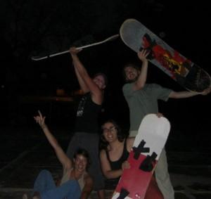 unsere Sandboardgang Franzi, Jacqui und wir 2