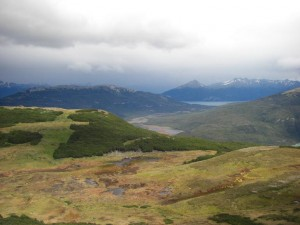 Blick von oberhalb der Waldgrenze auf Sumpfgebiet und Seen