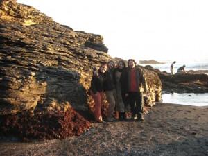 mit Hugo und Karen am Pazifikstrand in der Naehe von Conception
