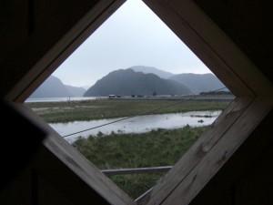 der Blick von Tortel auf die Fiordlandschaft