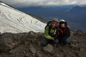 beim Abstieg vor einem Gletscher