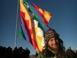 die grosse Fahne der Aymara Indianer - die muss man einfach fotographieren!