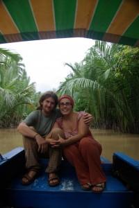 Aufgehts mit dem Boot zu den Inseln vor My Tho