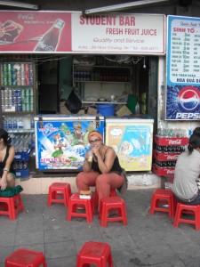 nach dem Marktbesuch goennen wir uns im Studentencafe einen guten Fruchtshake :-)