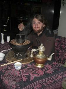 ...am letzten Abend noch ein tibetischer Hotpot (Heisser Topf) natuerlich mit Yakfleisch und tibetischem Buttertee