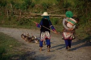 ..bevor es fuer sie dann gemeinsam auf den Nachhauseweg geht angetrieben von 2 traditionell gekleideten Dorfbewohnerinnen