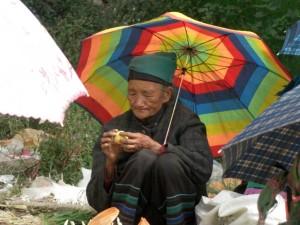 eine aeltere Baeurin schuetzt sich beim Verkaufen ihres Gemueses unter ihrem netten Sonnenschirm