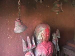 Goettin Devi - ihr werden lebende Hennen geopfert  - die wir im Hindutempel zu sehen bekommen