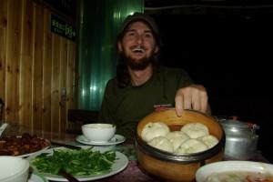 aber auch das chinesische Essen war supergut (Dumplings mit Spinatfuelle)