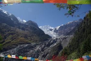 Ruhe, Einsamkeit, Gebetsfahnen und der Gletscher, Wahnsinnsstimmung