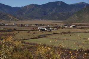 Am Weg sahen wir schliesslich die Weidegruende mit dem Dorf...