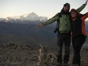 ...der Everest strahlt uns im Morgenlicht entgegen