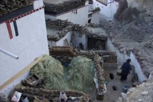 ...der Blick von oben erlaubt ziemlich intime Einblicke in den Alltag der Tibeter - hier Hausinnenhof mit dem WC - rechts das Loch im Boden