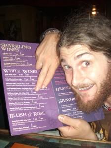 ...fuer uns nicht, deswegen war Alex ganz aus dem HAeuschen als er etwas aus der Heimat auf dieser Weinkarte fand :-)
